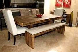"""Beautiful West Elm reclaimed wood dining room table 86"""" X 40""""; matching reclaimed wood bench with removable pad 73"""" x 15""""; Crate & Barrel wicker chairs (2) and 2 ivory leather captain chairs.  Chairs are priced separately"""