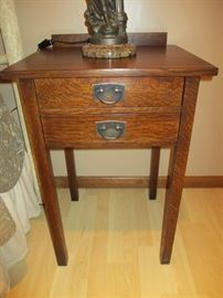 """Gustav Stickley two drawer tall night stand.  There are a pair.  29"""" tall, 20"""" wide, 17.5"""" deep.  Like new!"""