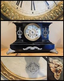 Antique Ansonia Mantel Clock made in New York.  Runs and Westminister Chimes.