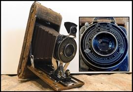 1920's Number 1A Agfa Ansco with Ostrich Leather Covered Camera.