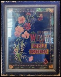 "Antique Print with Carnations and Lilies of the Valley Flowers ""Be Not Weary in Well Doing."""