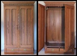 Antique Wardrobe approximately 45 inches by 18 inches by 60 inches.