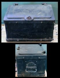 Late 19th Century Railroad or Stagecoach Cast Iron Strong Box.