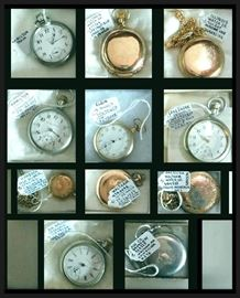 Watches including Waltham, Hamilton, Elgin, Illinois, and Hampden.