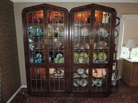 Fine LEADED DOOR FRONT Curio Cabinets - shown together ... sold by the piece.