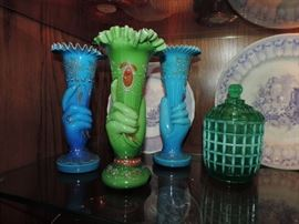 19th C. Bristol Glass HAND VASES w/ Enamel Decoration