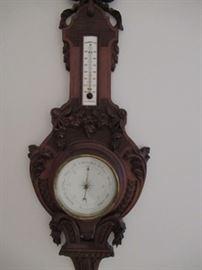 walnut  carved barometer  made in France