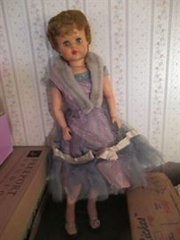 Josephine doll is dressed in her finest with heels, fur and dress