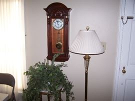 BRASS FLOOR LAMP, FAUX PLANT ON MARBLE-TOP STAND, VINTAGE WALL CLOCK