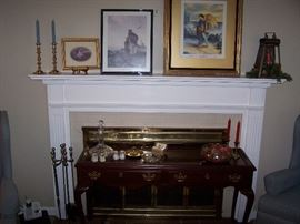 FRAMED PRINTS, BRASS CANDLESTICKS, QUEEN ANNE-STYLE SOFA TABLE & MISC.