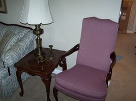 ANOTHER LAMP TABLE, BRASS LAMP & MAUVE ARMCHAIR