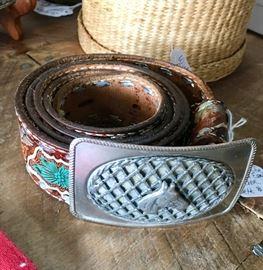Vintage BRAZOS JOE Tooled Eagle Leather Belt with Buckle