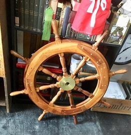 "Antique Wooden ""Gilligan's"" Ship Wheel"
