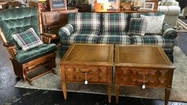 Green Plaid 3-Cushion Sofa, Upholstered Glider/Rocker and two beautiful end tables with drawers.