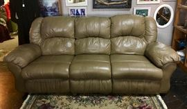 Tan Leather Sofa with Recliners on each end.
