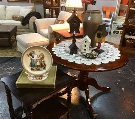 Large Foyer Table and Small Mahogany Square Side Table, and a Hummel Plate from 1980