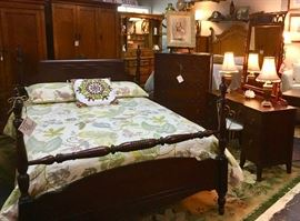 Mahogany Full Sized Antique Bed, Chest and Dressing Table with Mirror