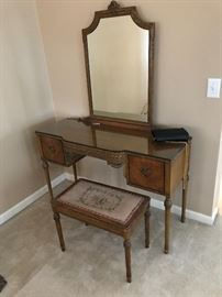 Gorgeous antique desk/vanity with bench.  Just beautiful