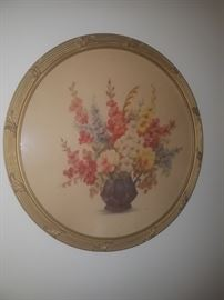 Antique round framed art