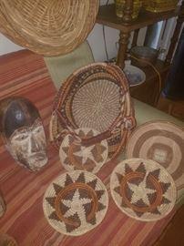 Wooden masks, baskets.
