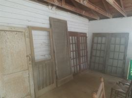 Architectural salvage: doors! 2 sets of French doors, one 8 foot screen door, and more