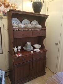 Kitchen hutch/cabinet. set of vintage china.