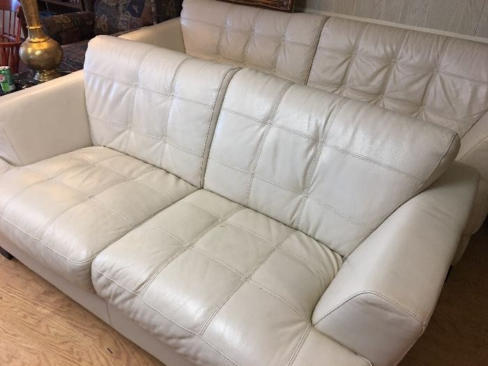 Cream color leather couch and Love Seat 50.00