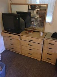 Mid Century Dresser and night stand  25.00