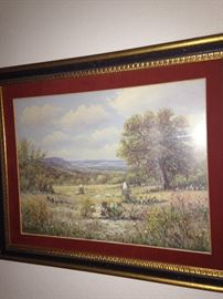 Framed Texas scene by Texas artist W R Thrasher, who was born in Lamar County, Texas, in 1908.