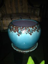 Turquoise and brown planter