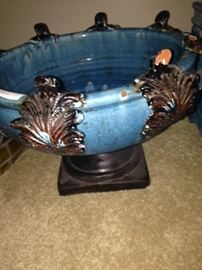 Blue & brown bowl/planter