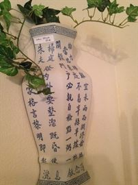 Blue & white Asian wall vase