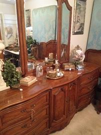 Large triple dresser with triple mirror