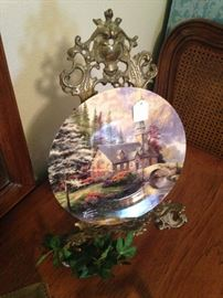 Thomas Kinkade plate; easel
