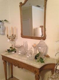 Marble top entry table and mirror; candelabra; crystal and glass selections