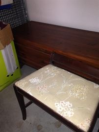 Vintage cedar chest and vanity stool