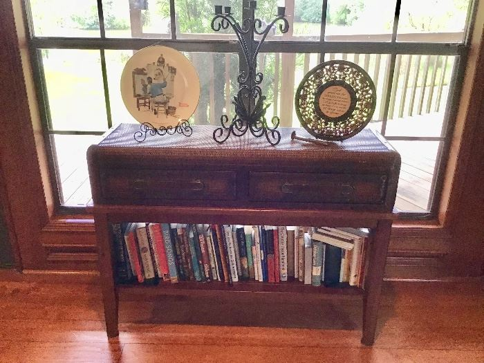 Wicker Table with Drawers, More Books
