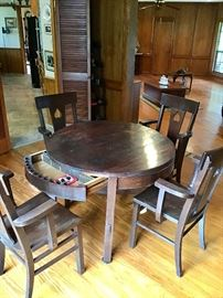 Antique Oak Poker table with Hidden Drawer and 4 Matching Chairs
