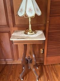 Marble Top Lamp table. Brass Touch Lamp