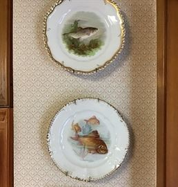 Two Antique fish Plates, Also Large Platter not Shown