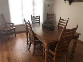 Oak country french dining table set