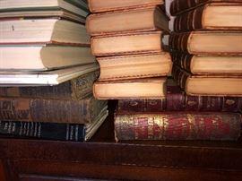 Antique leather bound books  19th century books.