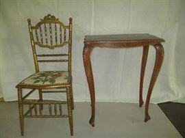 Antique needlepoint chair and antique table