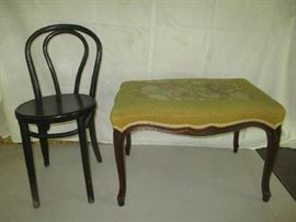 Antique chair and needlepoint stool