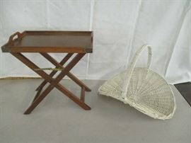 Tray table and wicker basket