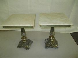 Pair of marble-top tables