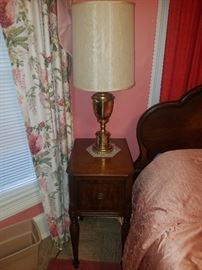 Pair of end tables w/pair of brass lamps