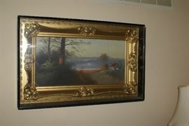 Victorian Era Oil on Canvas Cottage on Lake by Artist ROAN