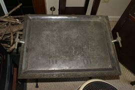 Victorian Era Serving Tray with Bird in middle of tray and Wild Deer Motif on the Boarder