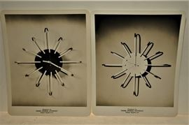 1952 PATENT MODELS OF A WALL CLOCK DESIGNED BY FRANK CHARLES DAVIDHAZY OF GRAND RAPIDS, MI